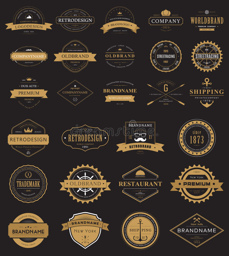 Vintage labels logo with crown, anchor, arrow stock illustration