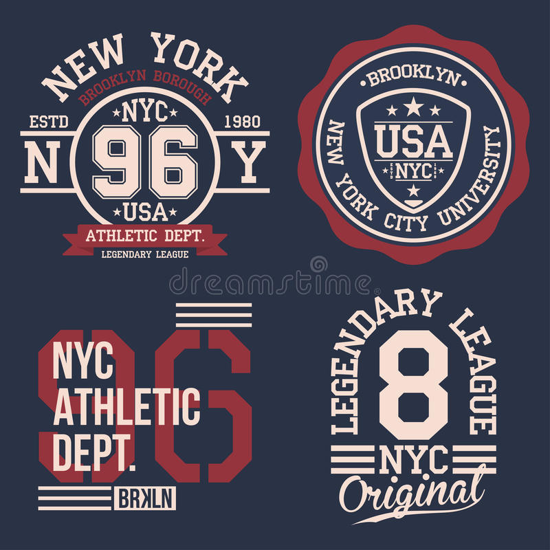 Vintage labels set, athletic sport typography for t shirt print. Varsity style. T-shirt graphic vector illustration