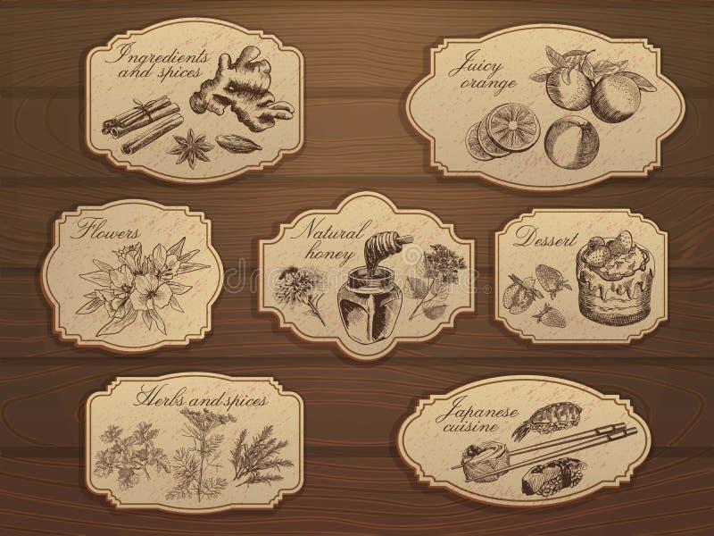 Vintage labels set royalty free illustration