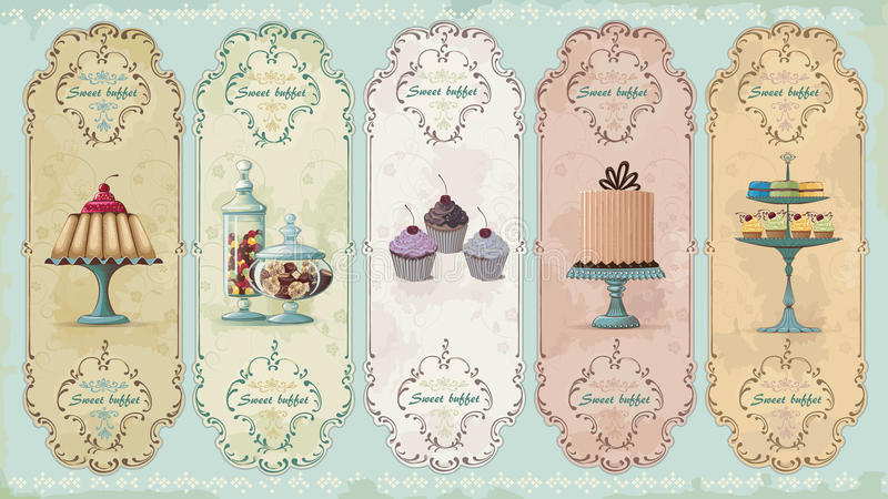 Vintage labels with sweets. Set of vintage labels with cakes and chocolate sweets. Vector illustration