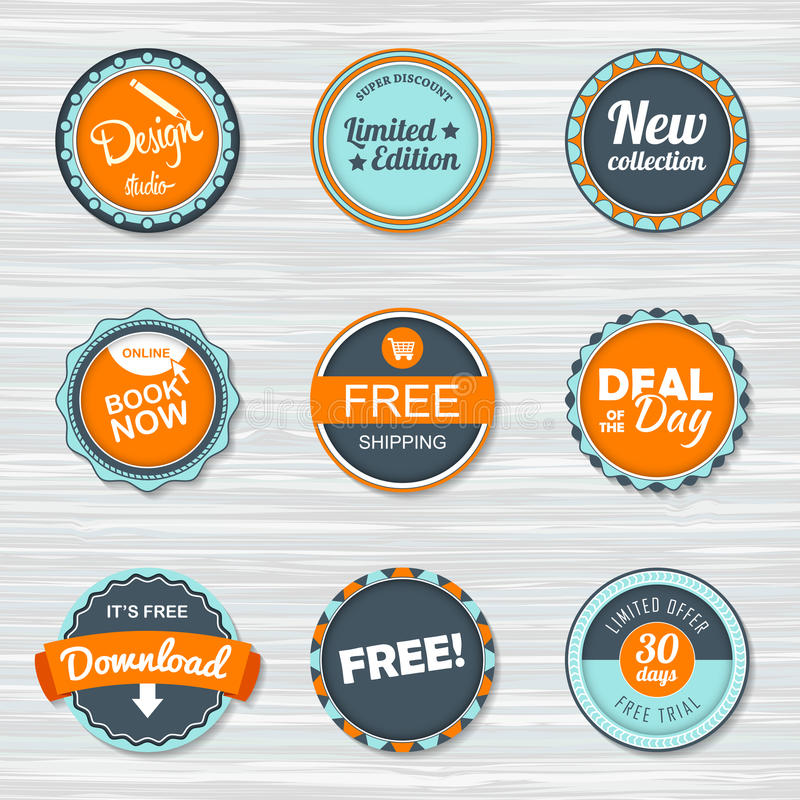Vintage labels template set. Vector retro badges vector illustration
