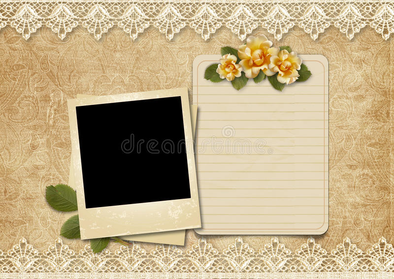 Vintage lace background with old polaroid-frame and rose stock illustration