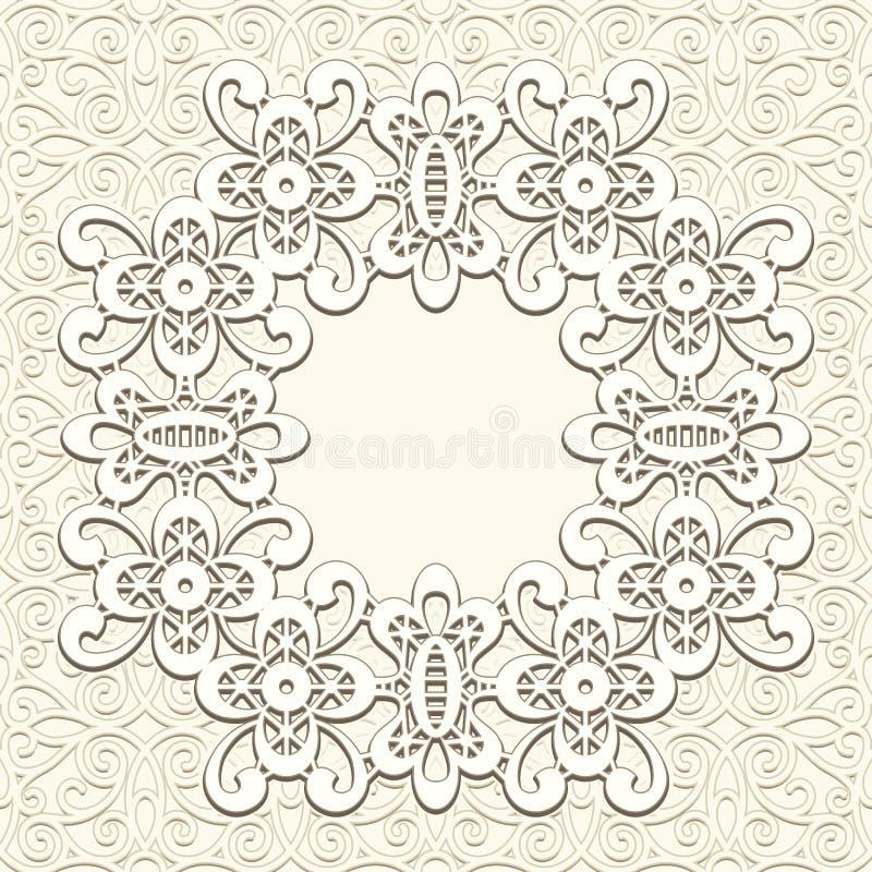 Vintage lace background. Ornamental lacy round frame stock illustration