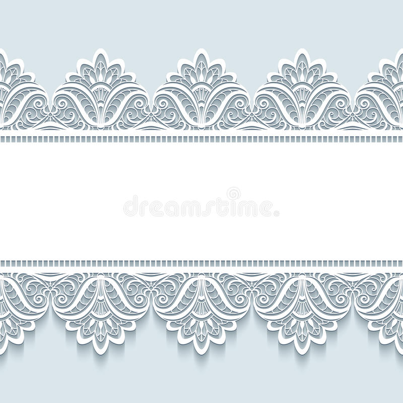 Vintage lace background with seamless borders vector illustration
