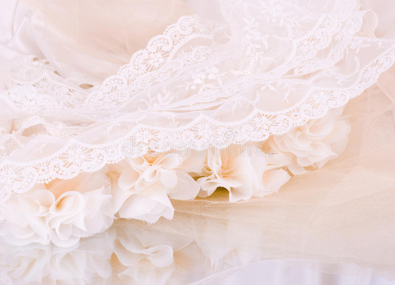 Vintage lace with flowers stock photo