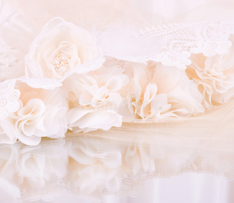 Vintage lace with flowers royalty free stock images