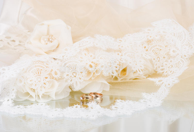 Vintage lace with flowers and beads royalty free stock photo