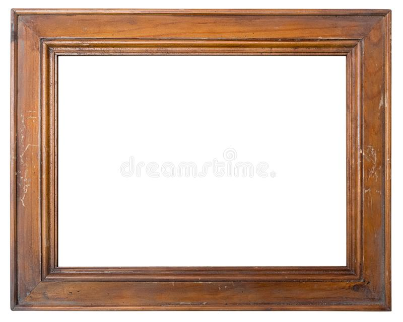Vintage lacquered blank wooden photo Frame isolated on white background stock photo