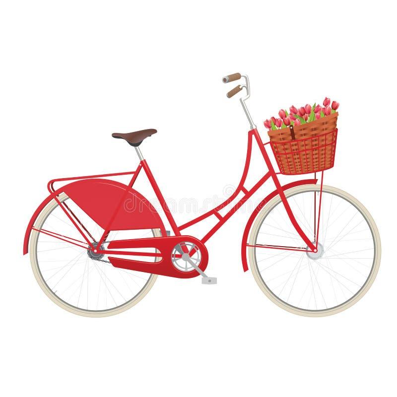 Vintage ladies bicycle with wicker basket royalty free illustration