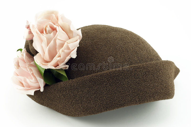 Download Vintage Ladies Hat With Pink Roses On White Stock Image - Image: 8779179
