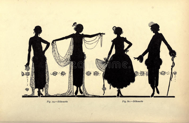 Vintage ladies illustration stock photos