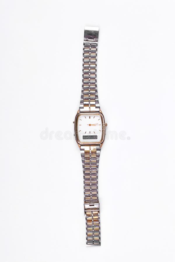 Vintage ladies watch isolated on white. Woman soviet wrist watch isolated on white background stock photography