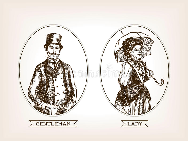 Line Art Illustration Style : Vintage lady and gentleman sketch style vector stock illustration
