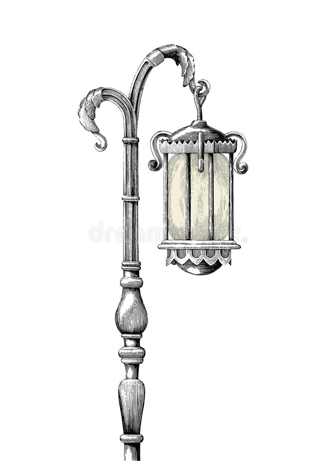 Vintage lamp post hand drawing engraving illustration on white b royalty free illustration