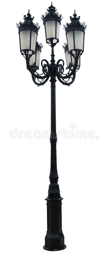 Free Vintage Lamp Post Street Road Light Pole Isolated On White Royalty Free Stock Images - 33293889