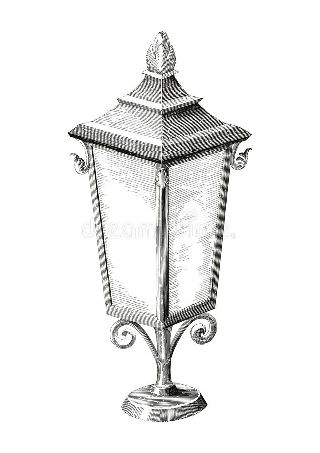 Vintage lamp street hand drawing engraving style on white background royalty free illustration