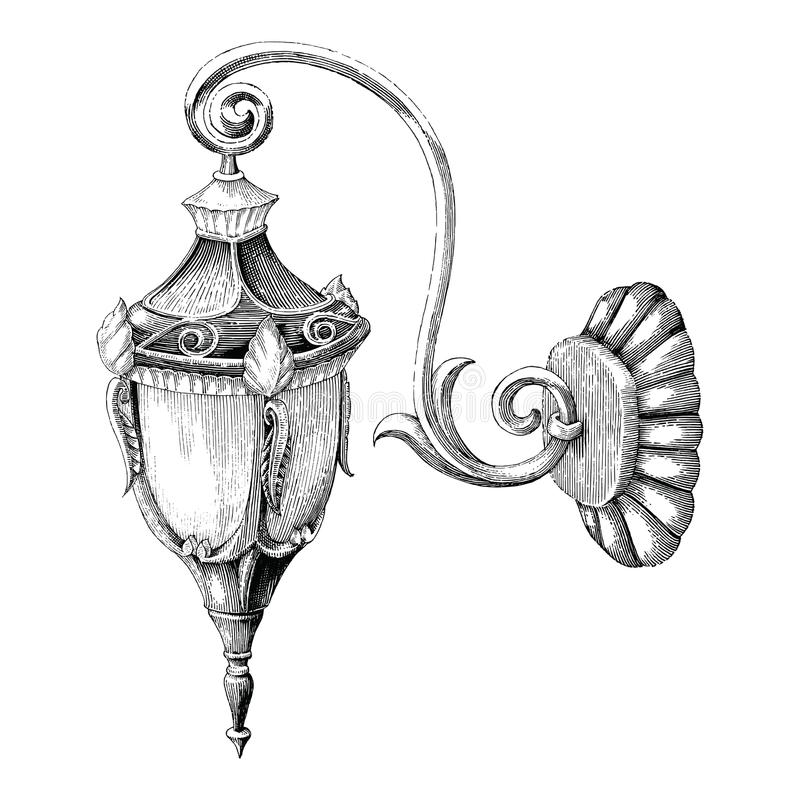 Vintage lamp street hand drawing engraving style on white background stock illustration