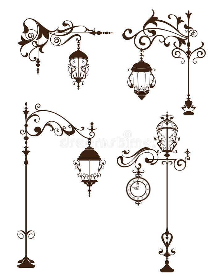 Vintage lamps with design elements and ornaments flourishes. Outdoor street lamppost with clock objects on a white background stock illustration