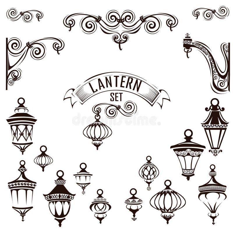 Vintage lamps set. Decoration page. Vector illustration stock illustration