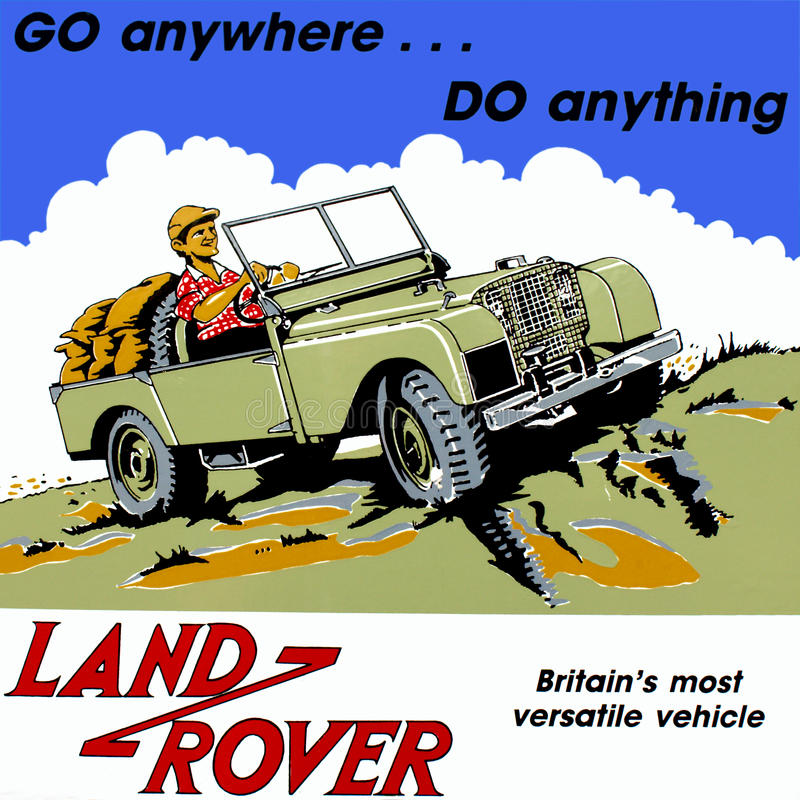 Old Vintage Land Rover Truck. Colourful metal advertising wall sign for a classic vintage Land Rover jeep royalty free stock image