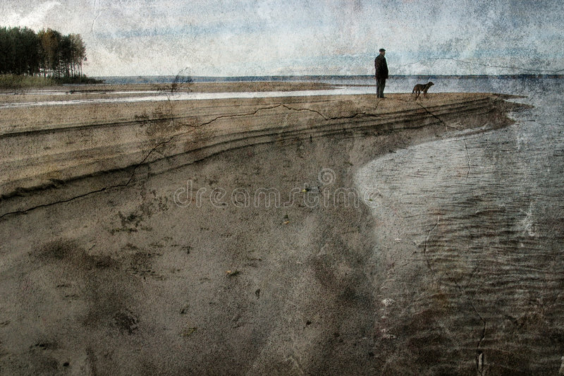 Vintage landscape with the man and a dog royalty free stock images