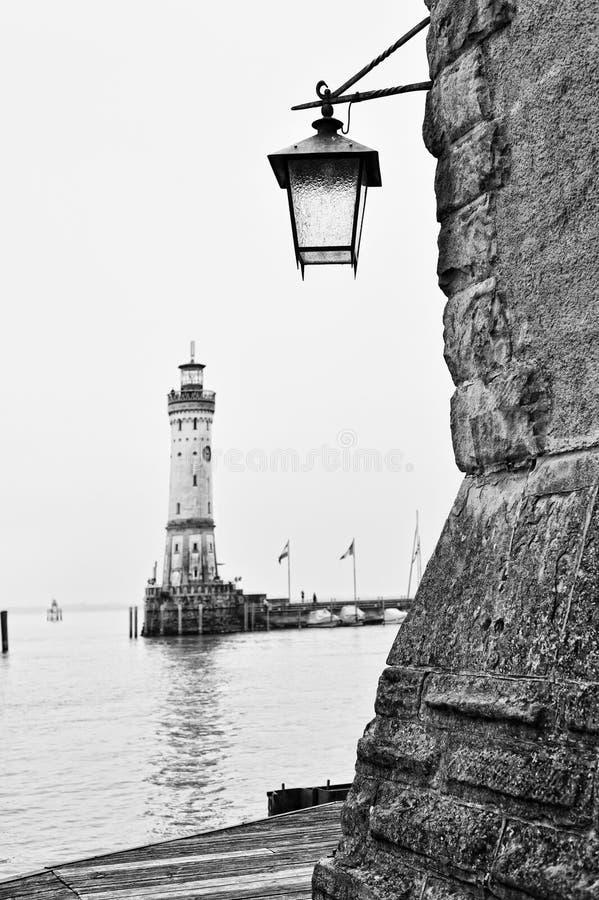 Vintage Lantern On Lindau Harbour Royalty Free Stock Images