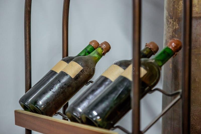 Vintage large wine bottles stock images