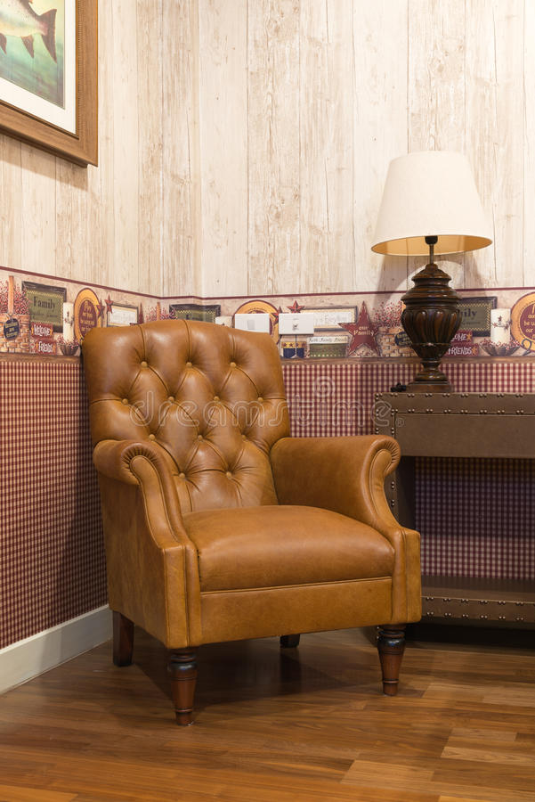 Vintage leather armchair royalty free stock image