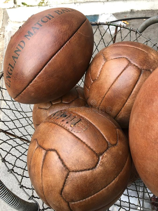 Vintage leather balls royalty free stock photos