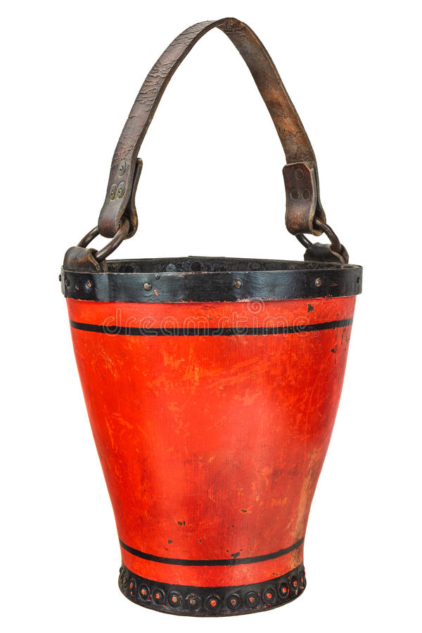 Vintage leather fire brigade bucket isolated on white. Vintage leather fire brigade bucket isolated on a white background royalty free stock image