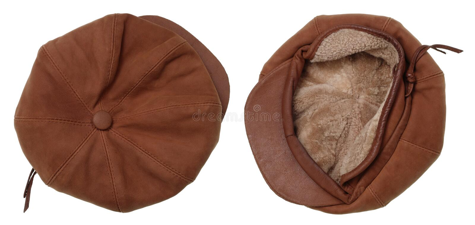 Vintage leather fur warm winter cap of my grandmother. Isolated on white studio shot stock photos