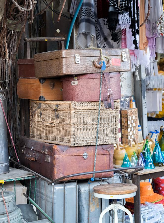Vintage leather and rattan suitcases for sale at old Jaffa Flea Market royalty free stock photos