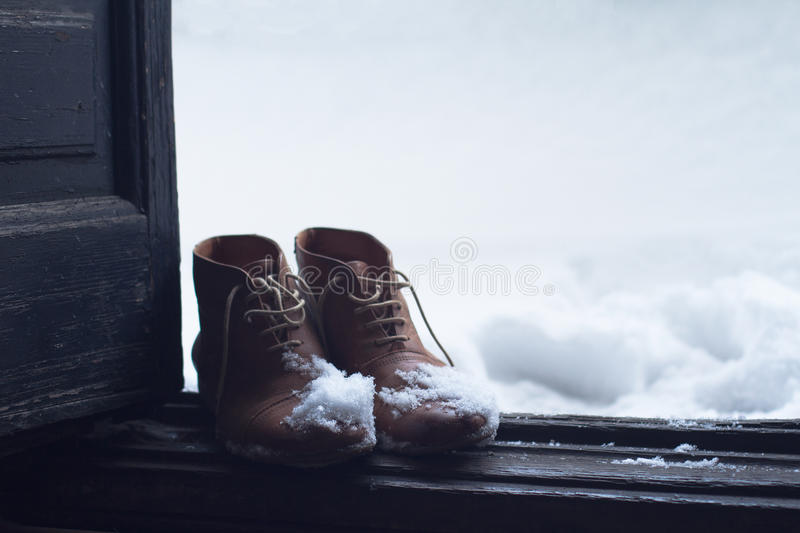 Download Vintage Leather Shoes Covered In Snow By The Door Stock Image    Image Of Front