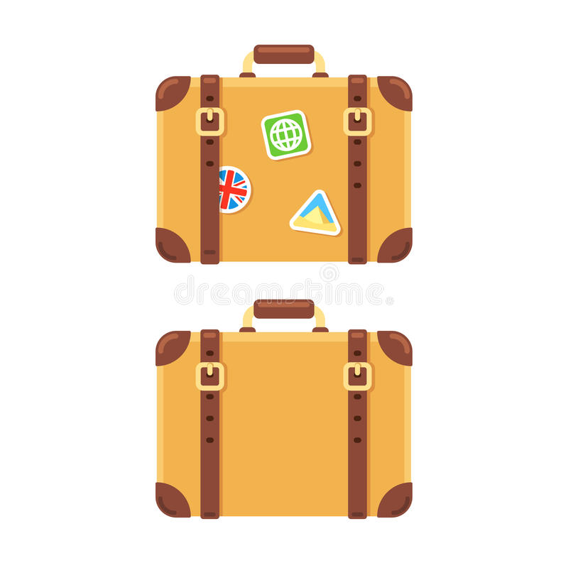 Vintage leather suitcase with stickers vector illustration