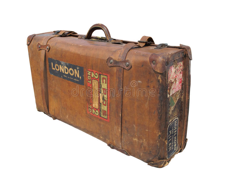 Vintage leather suitcase with straps isolated. royalty free stock photo