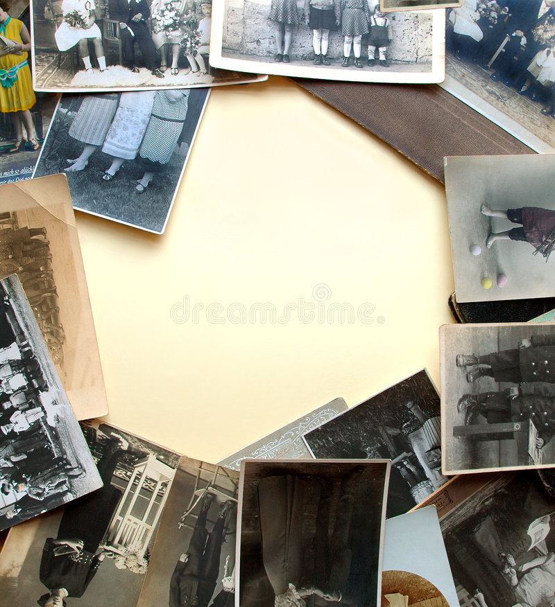 Vintage legs. Ancient photographs as a frame around light yellowish paper background royalty free stock photography