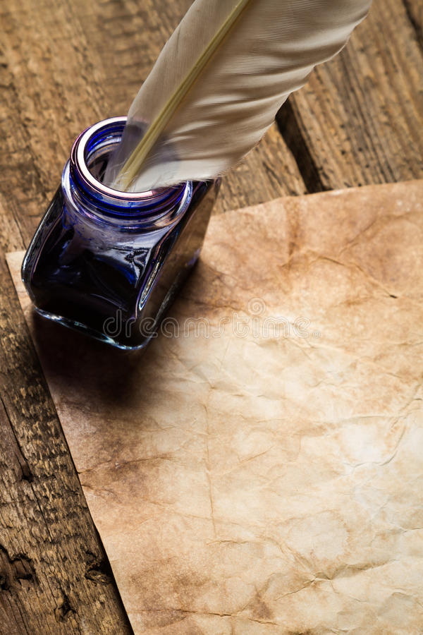 Vintage letter with sealant with inkwells royalty free stock photography