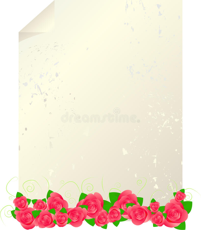 Vintage letter template with red roses royalty free illustration