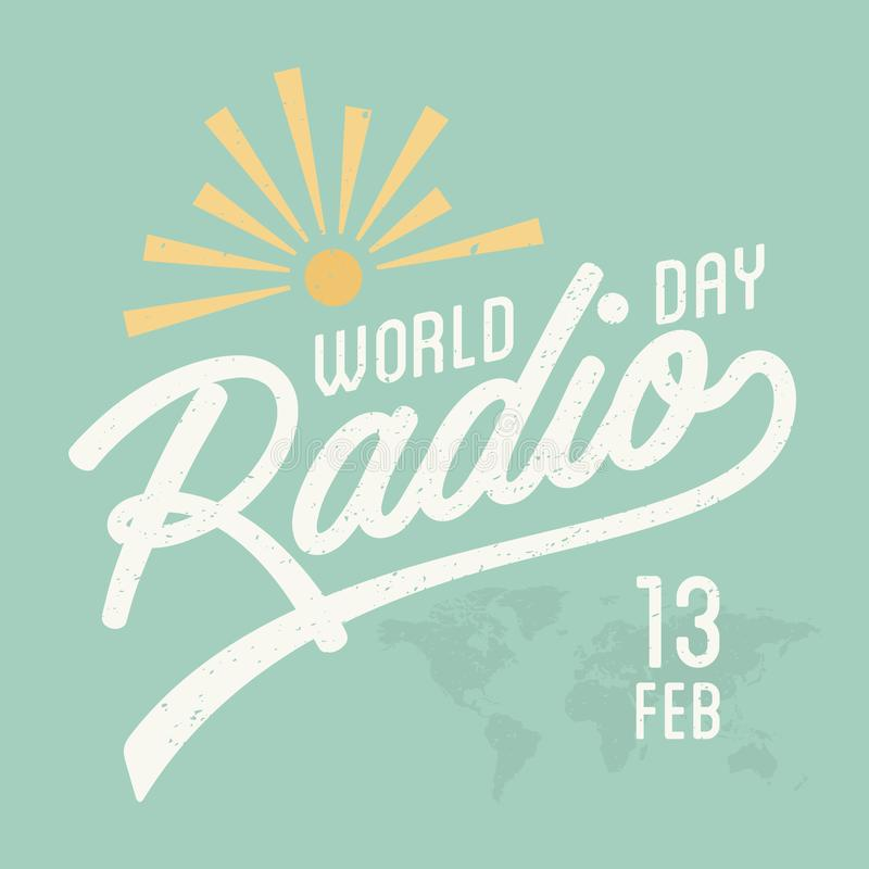 Vintage letter World Radio Day for element design on the green background vector illustration