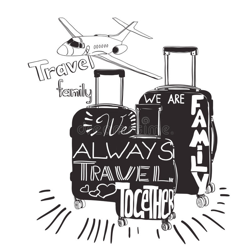 Vintage lettering baggage for travel. Travel inspiration quotes. Vector illustration Travel inspiration quotes on suitcase silhouette. Vintage lettering baggage stock illustration