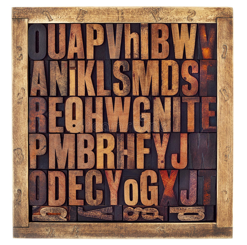 Vintage letterpress alphabet letters. Random letters of alphabet - vintage letterpress wood type printing blocks in a rustic box isolated on white stock photos