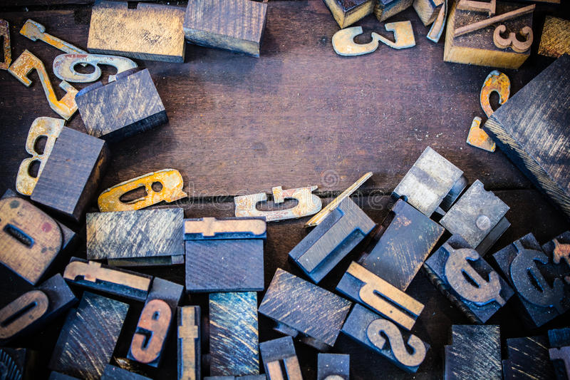 Vintage Letterpress Numbers and Letters stock photography