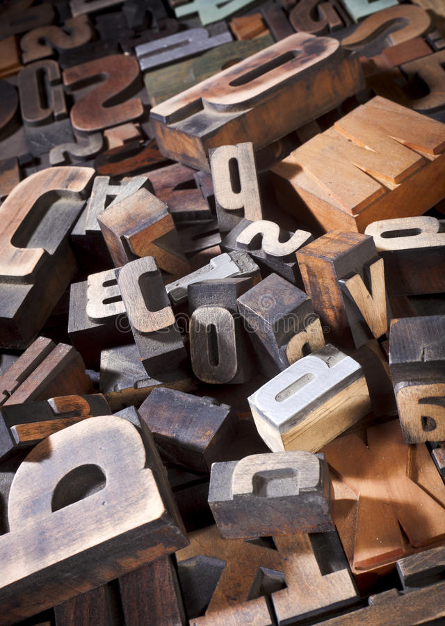Vintage letterpress printing blocks royalty free stock photography