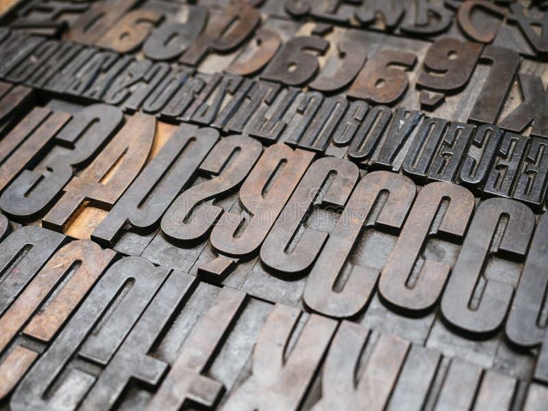 Vintage Letterpress wood type printing blocks stock photo