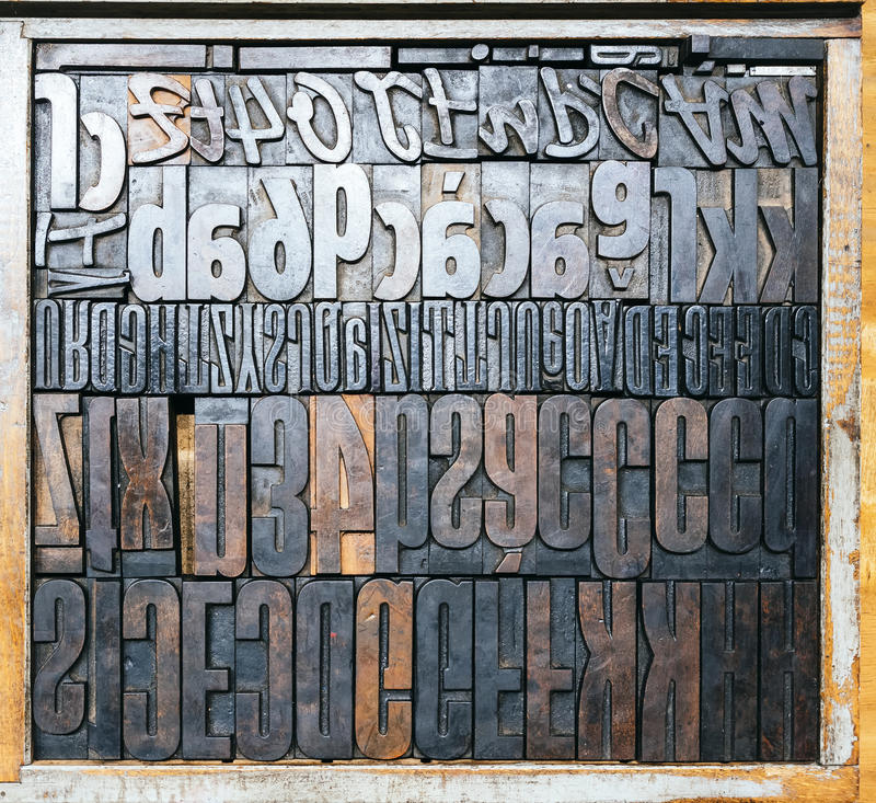 Vintage Letterpress wood type printing blocks Top view. Vintage Letterpress wood type printing blocks as background stock image