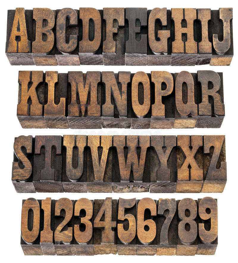 Vintage letters and numbers in wood type stock image