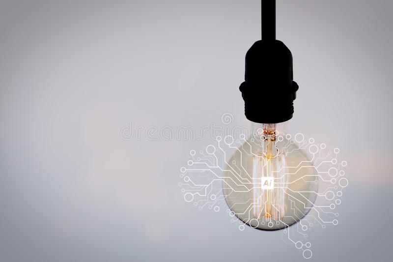vintage light bulb with copy space as creative concept royalty free stock images
