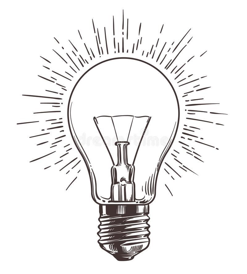 Vintage light bulb in engraving style. Hand drawn retro lightbulb with illumination for idea concept. Vector stock illustration