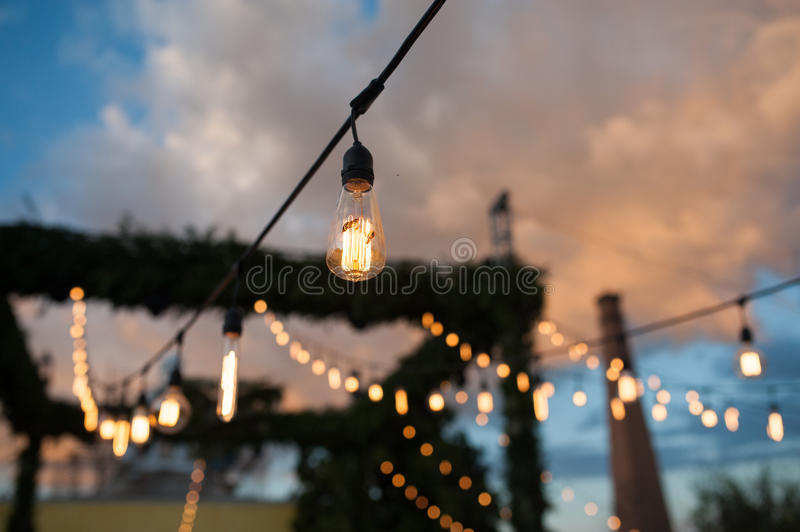 Vintage light bulbs focus party celebration royalty free stock photos