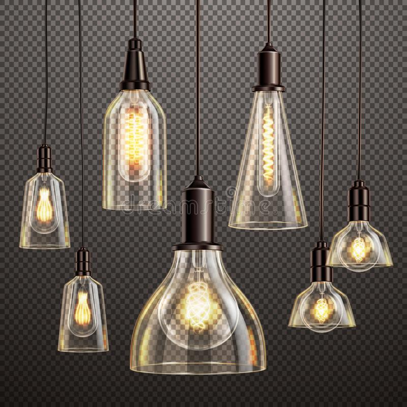 Vintage Light Bulbs Set stock illustration